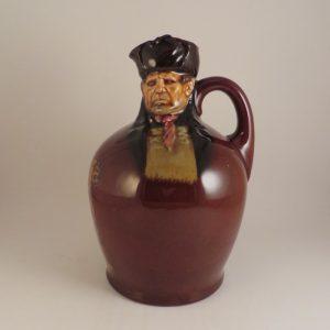 Royal Doulton Bill Sykes Kingsware Whiskey Flask 8″