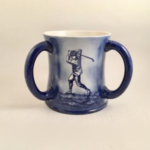 CAC Blue Three Handled Golf Tyg  c.1900