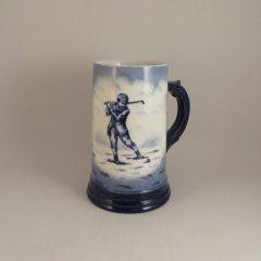 Austrian / German Pottery Golf Stein 6″