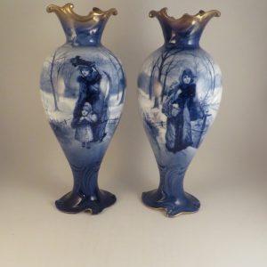 Royal Doulton Blue Children Pair of Vases 11″
