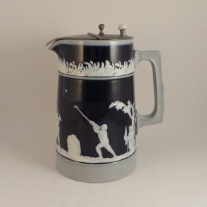 Copeland Spode Golf Jug Blue with Pewter Lid 6.5″