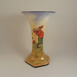 Crown Ducal Vase Comical Golfer 7″