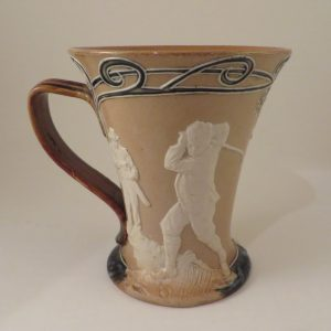 Doulton Lambeth Pottery Golf Flared Rim Mug 5″