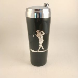 Sterling Silver Overlay Glass Golf Cocktail Shaker 9.5″