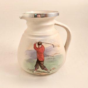 MacIntyre Burslem Sterling Silver Rim Jug ~ Red Jacket Golfer