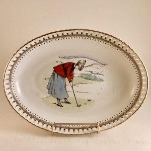 Minton ~ Apsley Pellatt & Co  Lady Golfer Reticulated Bowl